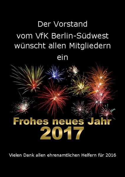 Der Vorstand wünscht allen ein frohes neues Jahr 2017: